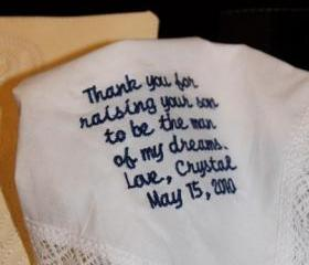 Custom Personalized Wedding Handkerchief/ Keepsake gift