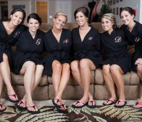 Personalized Bridesmaid Robes. Set of 6 Waffle Robes.