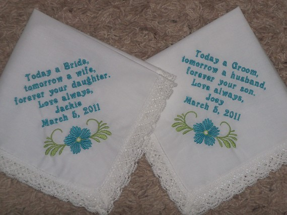Set Of 2 Personalized Wedding Handkerchiefs To Your Custom Saying On Luulla